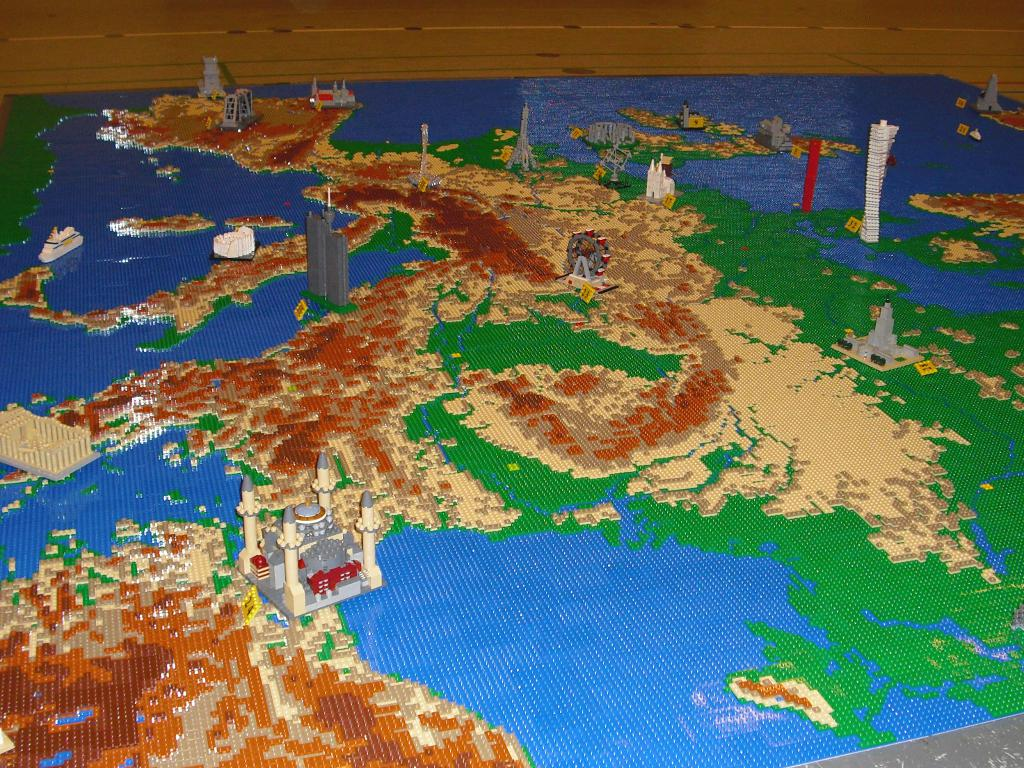 Map of Europe made out of Legos